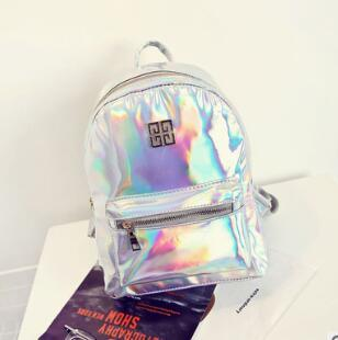 Fashion Hologram Backpack Women School Shoulder Bags Small Backpacks Women's Laser Silver Color Back pack Mini Holographic Bags