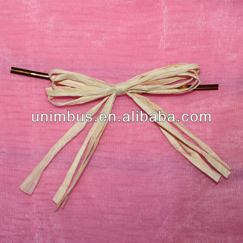 knots paper raffia bow with wire twist tie for bag close