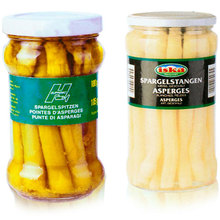 Canned fresh white asparagus