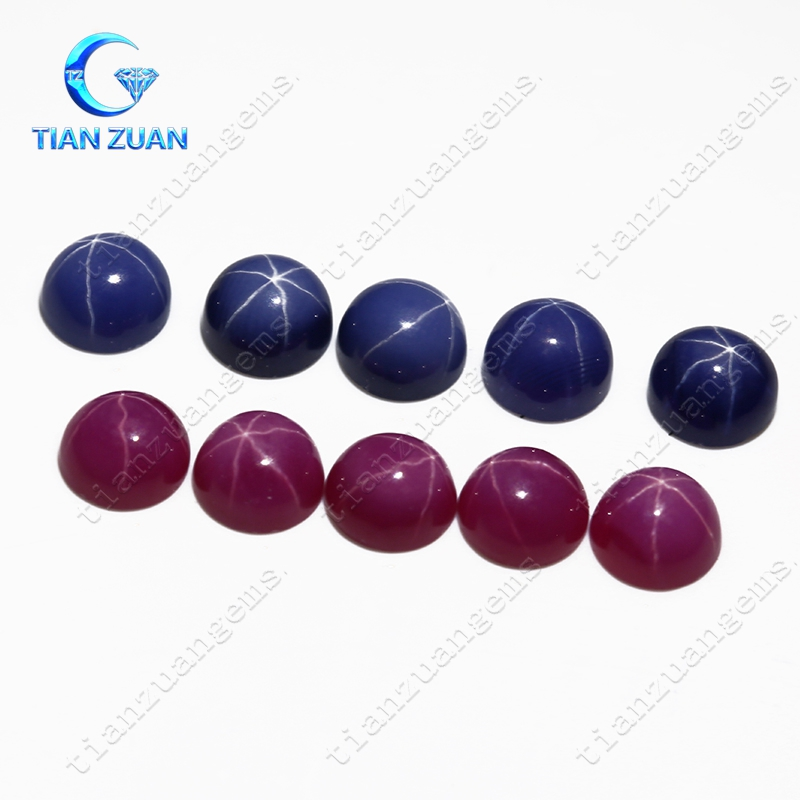 Red and blue cabochon round shape synthetic star sapphire gemstone