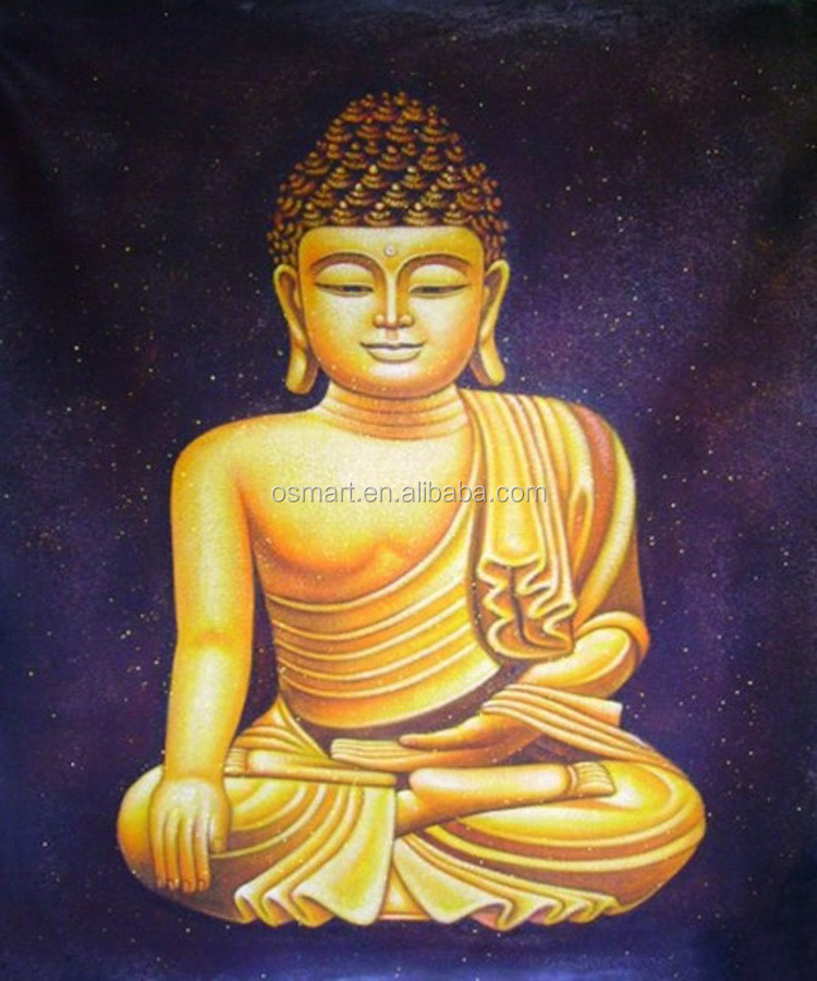 Best quality Buddha fabric painting designs high quality hand printed wall decoration oil painting on canvas
