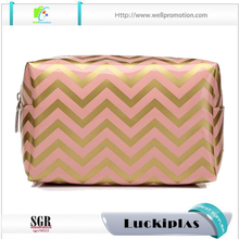 Fashion chevron makeup cosmetic bag with custom logo printed