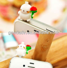 new fashion cute earphone jack dustproof plug/anti dust plug for mobile phone