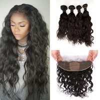 Silk Base Frontal Closure 13*4inch Natural Color Virgin Mongolian Water Wave Human Hair With Frontal