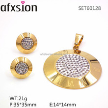 316L stainless steel pendants and earrings golden Roman numerals, a lot of crystal diamond jewelry set