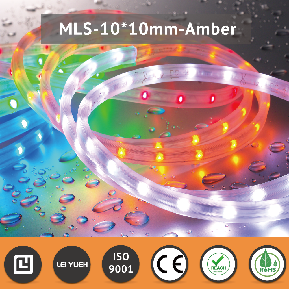 MIT Flexible Decorative Lightings 24V <strong>10</strong> x 10mm IP67 3020 Amber Micro LED Strip Light