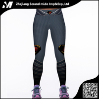 Superman's Symbol Printing Dark Grey Stripes Women Dylan Digital Printing Sexy Breathable Tight Sports Pants