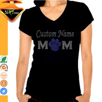 Hot Sales V neck Women Cotton T-shirt With Rhinestone Design