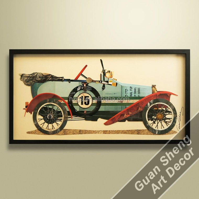 stock painting antique classic car art work for Interior space