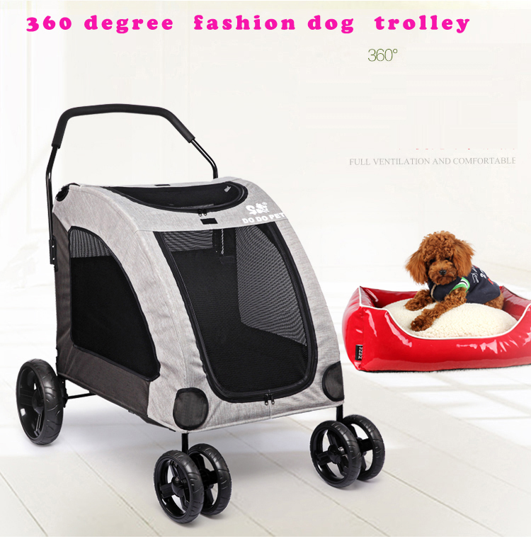 Pet Trailer dog 4 wheels stroller With Large Windows