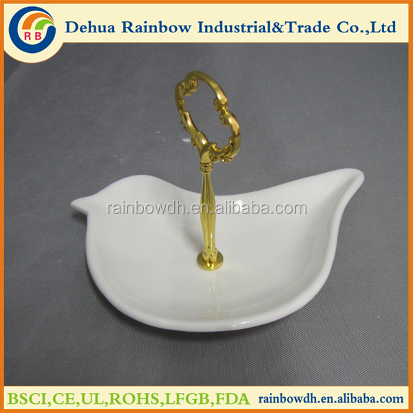 Ceramic bird shape ring and jewelry display tray