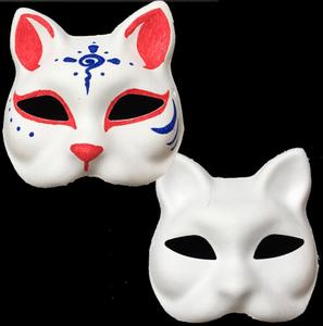 Unpainted Blank White Sexy Women Party Masks Masquerade Mask Venetian Cat Animal hand Cosplay Costume DIY Mask