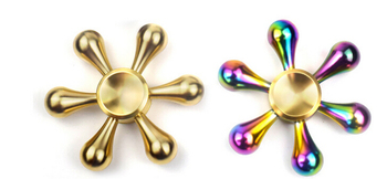 High Quality Six Winged Water Drop Rainbow Brass Hand Fidget Spinner