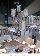 2022-005G inexpensive high glass crystal candelabra for weddings
