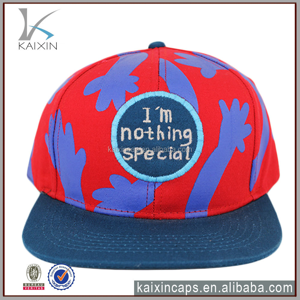 flat brim woven label patch snapback cap/plain cheap snapback hats/floral printed snapback hats