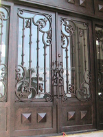 Custom Luxurious Wrought Iron double entry Door FD-493
