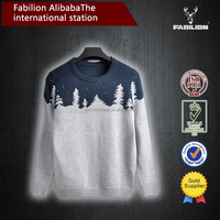 Men's round collar pure colour sweater for european style sweaters