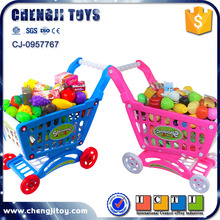 Kids Supermarket Shopping Toy Car Baby Walking Trolley Toy With Fruit