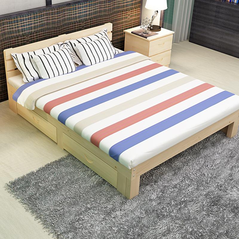 Comfortable eco friendly wood double bed designs