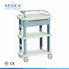 AG-LPT008A One-drawer ABS plastic medical trolley cart for sale