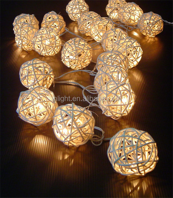Rattan Cane Wood Battery Operated Fairy Lights Creamy White/Beautiful rattan cane led battery string lighting ball lights