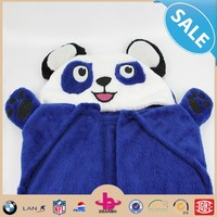 Newset cheap home animal head plush baby blanket/Plush animal hooded kids Blanket/Soft panda coral fleece hooded baby blanket