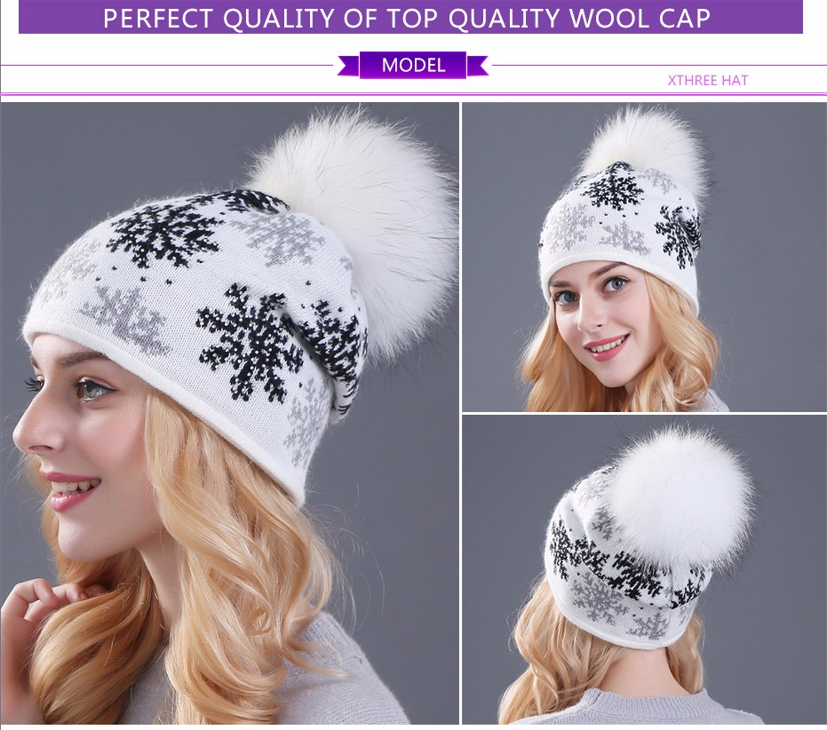 stocking chunky black white warm wool knit winter beanie hat caps for women