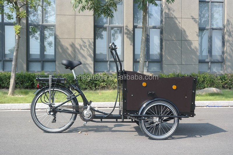 "20""(front) 26""(rear) Adult electric tricycle cargo with a cabin"