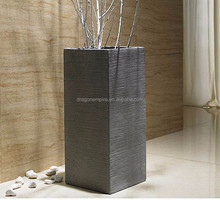 High quality tall square textured fiber cement flower pots wholesale