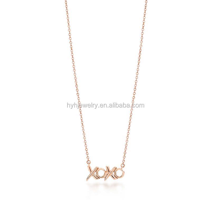 Top Sale Tiny Sideways Rose Gold Pendant Jewelry 925 Pure Silver XO Letter Necklace