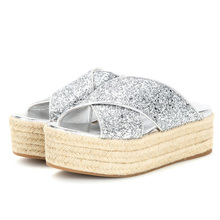 Fashion and elegant glitter design hemp rope platform shoes ladies slipper
