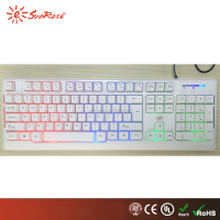 rainbow color backlit PC led USB wired white keyboard