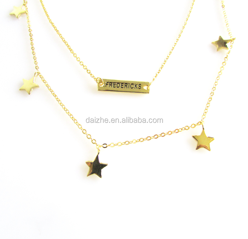 custom name bar star charm gold plated necklace set jewelry gold