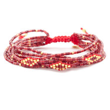 red mix gold seed bead layered bracelet friendship