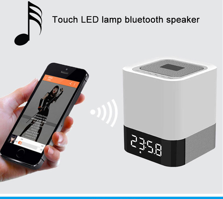Built in Alarm Clock and Hands-free Function touch LED lamp bluetooth speaker