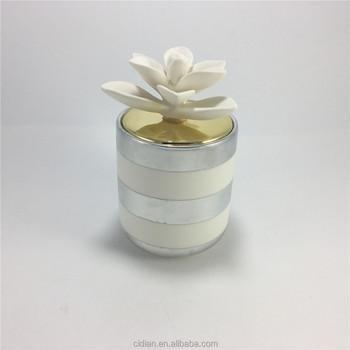 Ceramic cylinder candle jar with ceramic lid