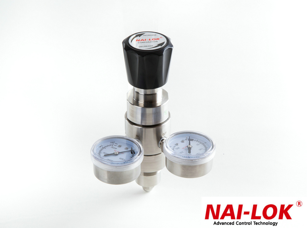 dual stage argon gas pressure regulator with compression fittings