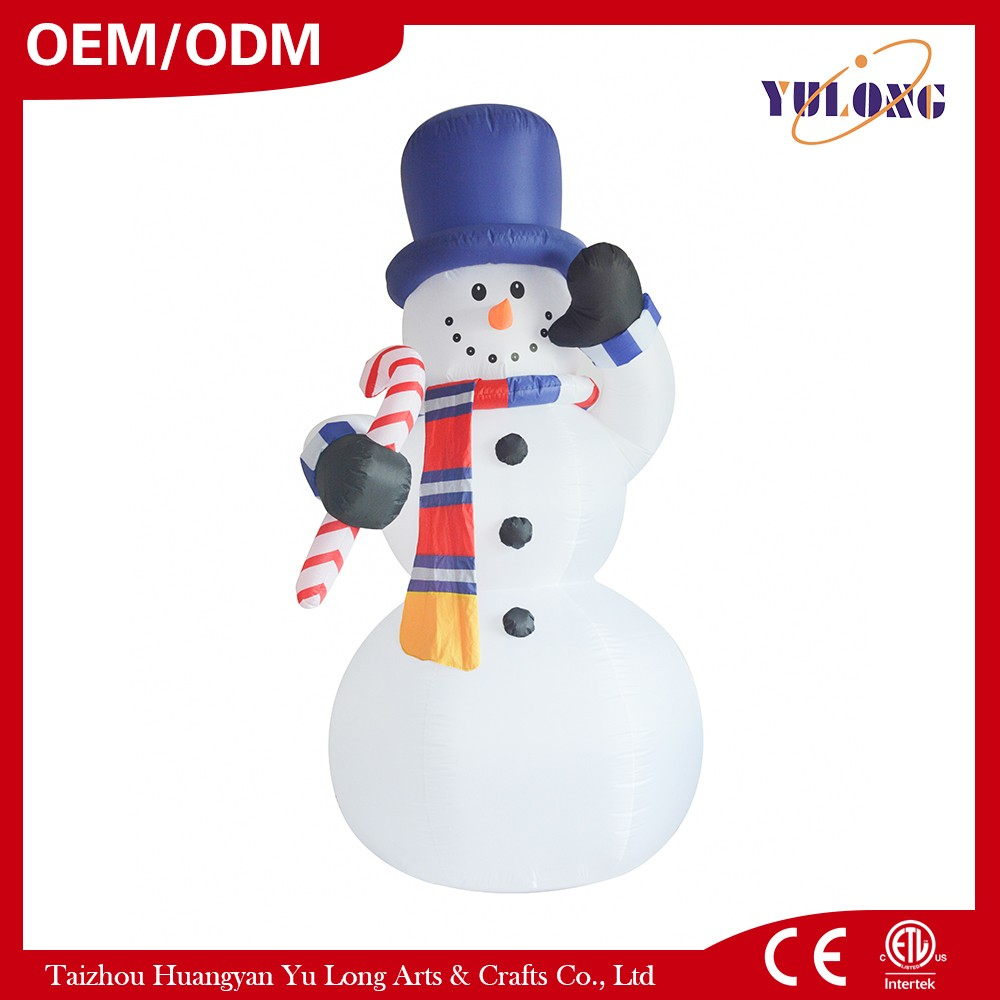 Inflatable Snowman holding a lollipop stick $keyword$ custom christmas village houses
