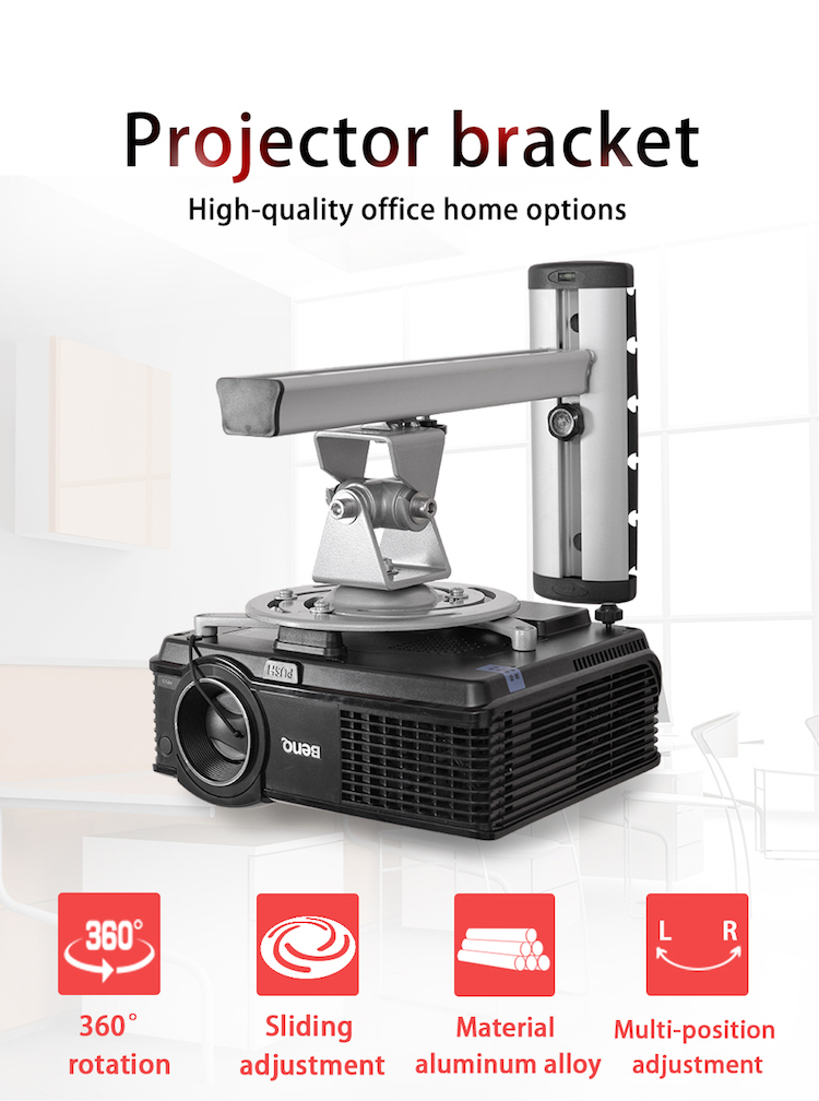 Wall hanging projector mounts EW-PR03 Wall Projector Mount Bracket With 360 Degree Rotation silvery motorized projector ceiling