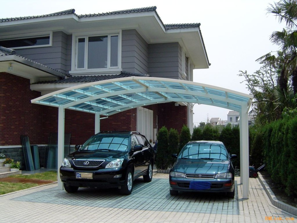 Aluminum Double Carport Garage Carport With Polycarbonate Sheet Arched Roof