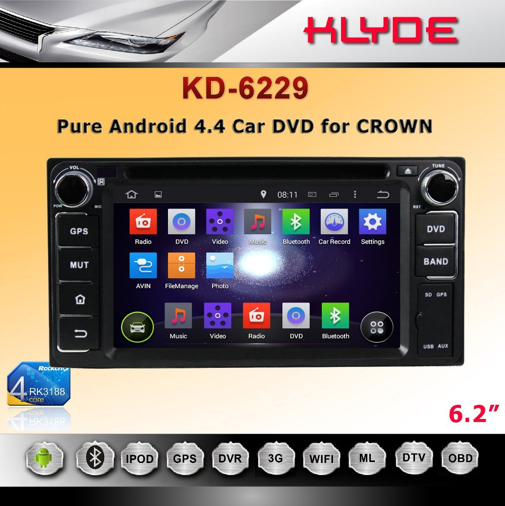 special 6.2 inch touch screen 2 din Quad Core Android car FM radio for Crown with high definition