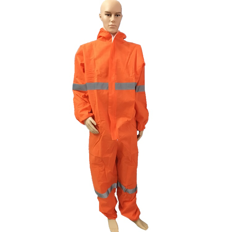 Disposable nonwoven reflective stripes safety coverall