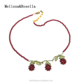 Melissa&Rosella Fashionable Garnet Crystal Fashion Cluster Garnet Branch Charm Pendant Necklace Jewelry Female Necklace