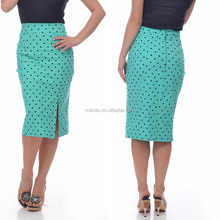 High Waisted Polka-Dot Formal Office Skirts Designs Bodycon Pencil Skirt Ladies Long