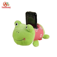Stuffed animal decorative plush frog mobile phone holder