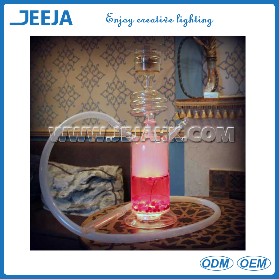 best seller glass shisha hookah with LED light and leather packing