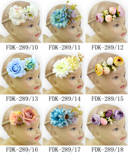 Wholesale Many Colors Remake Photo Prop Fairy Kids Wear Fabric Bulk Flash Flower Stretchy Band BoHo Baby Girl Headband