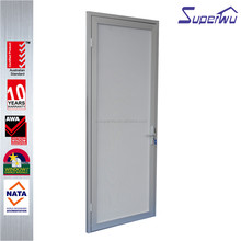 White color aluminum frame single opening casement door with aluminum fly screen