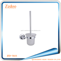 ZD-5011 Glass Cup Material and chrome Surface Finishing Toilet Brush Holder