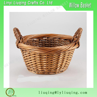 small deep round slipt wicker fruit candy easter basket with ear handles gift idea for home or office